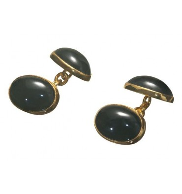 Black Onyx mini double oval gold plated silver cufflinks