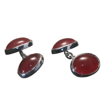 Red Agate mini double oval silver cufflinks