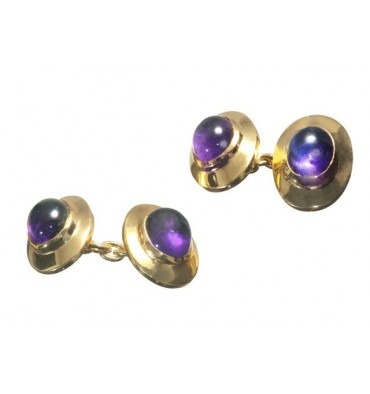 Amethyst Cufflinks Mini Framed Doubles Gold Plated Sterling Silver
