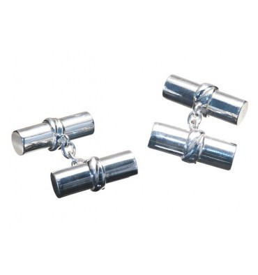 Cylinder doubles solid sterling silver cufflinks