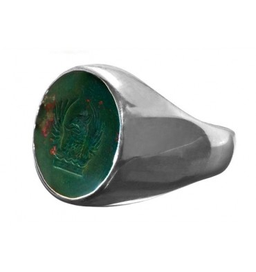Bloodstone Family Crest Winged Griffon Sterling Silver Ring