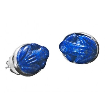 Frog earrings sculpted from Lapis with stud attachments