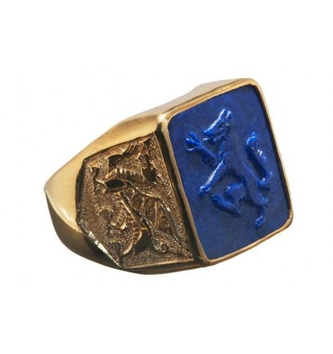 Lapis Wolf Rampant Sculpted Square Gold Plated Sterling Silver Ring.