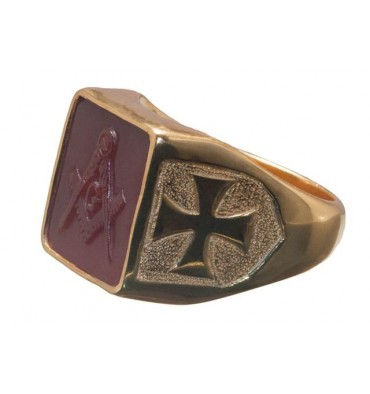 Red Agate Sculpted Masonic Set Square Gold Plated Sterling Silver Ring.