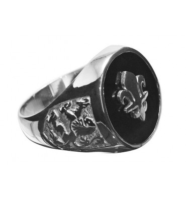 Black Onyx Fleur de Lys Overlaid Sterling Silver Ring