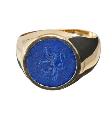 Heraldic Lion rampant engraved intaglio to Lapis gold plated silver ring