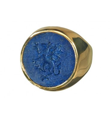 Lapis gold plated silver ring with Celtic dragon