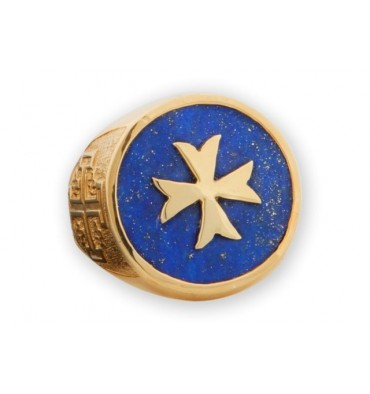 Maltese cross ring with Lapis and gold plated Chassis