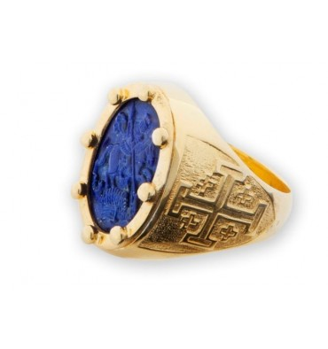 St George & the Dragon Ring lapis on gold plated sterling silver