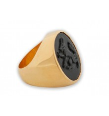 Wolf ring Black Onyx Heraldic Gold Plated Sterling Silver