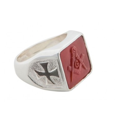 Masonic Red Agate Sculpted Ring.