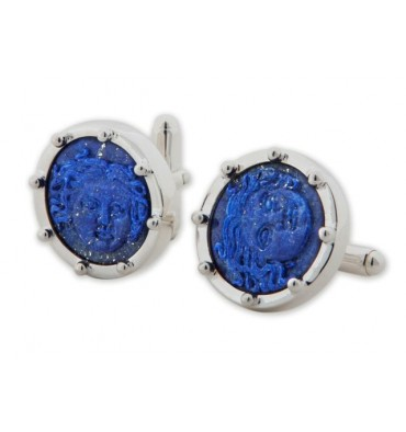 Lapis Carved Greek God Sterling Silver Cufflinks