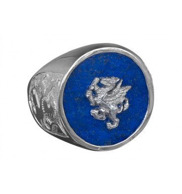 Gryphon Ring with Lapis & Scottish lions