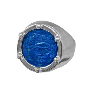 Lapis Ring with sculpted Sun Goddess