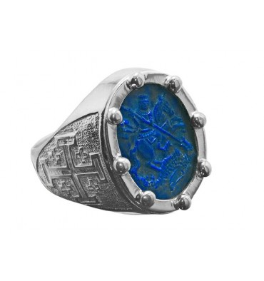 Heraldic ring with St George and the Dragon on Lapis