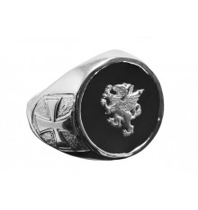 Onyx Ring With Griffon Overlaid