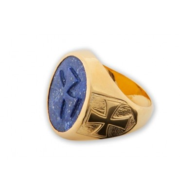 Lapis Ring With Templar Crosses
