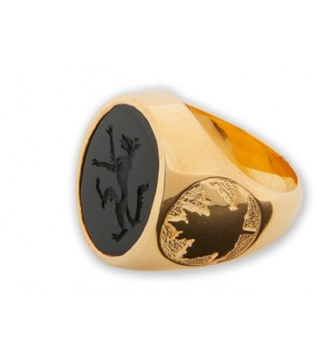 Family Crest Ring with Onyx Wolf and Maple leaf shoulders