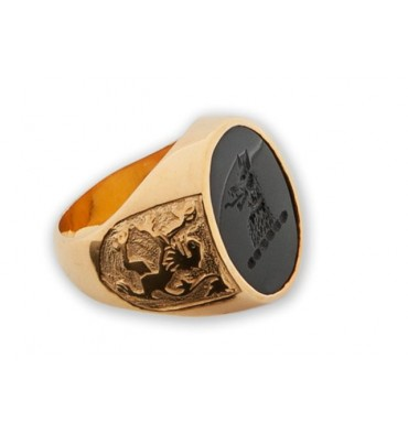 Family Crest Ring with Long Tongued Heraldic Wolf