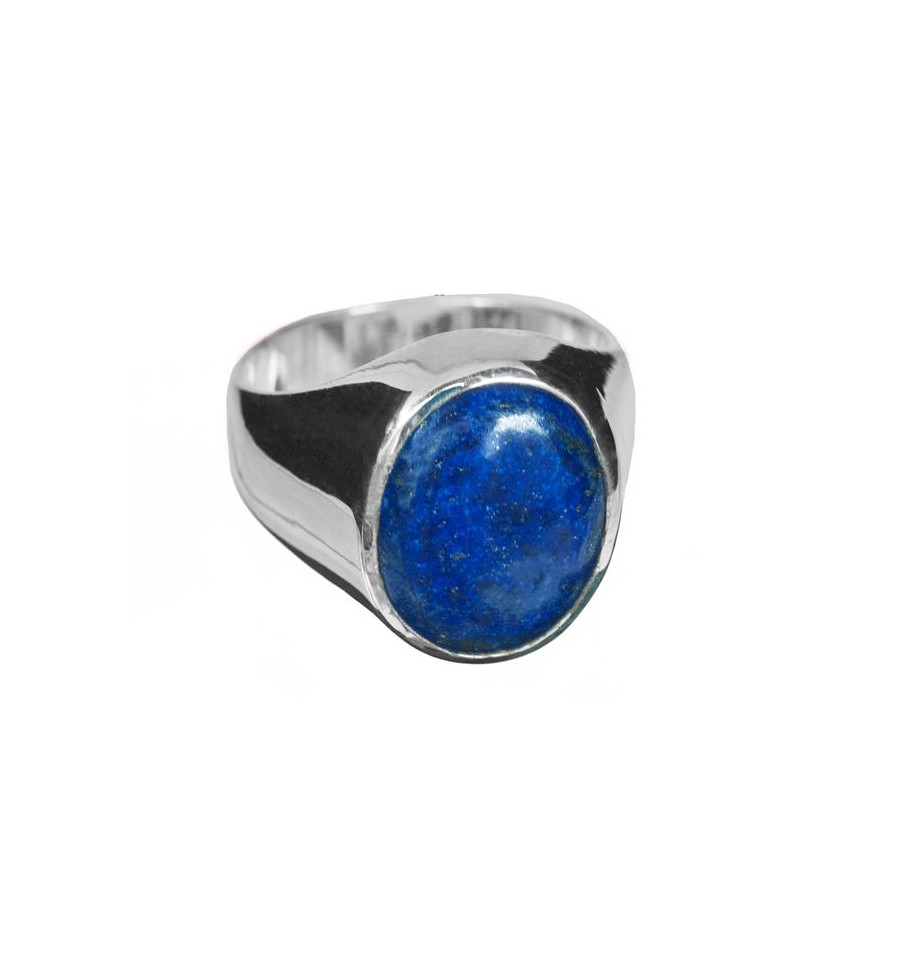 lapis cabochon ring with sterling silver chassis regnas