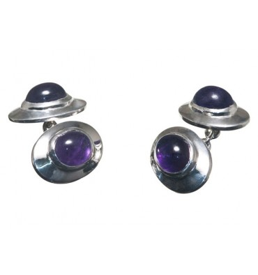 Amethyst Cufflinks with high quality cabochons mounted to sterling silver
