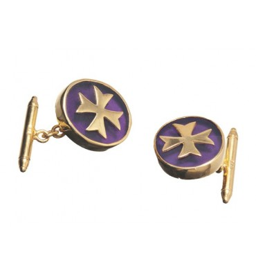 Amethyst cufflinks with overlaid Maltese Cross