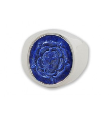 Lapis Ring Carved Rosicrucian Cross Silver