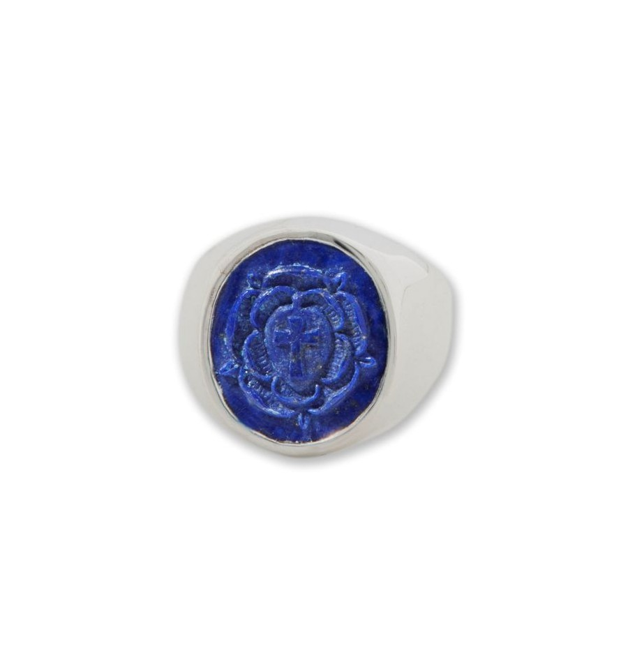 Lapis Ring Carved Rosicrucian Cross Silver Regnas Jewelry
