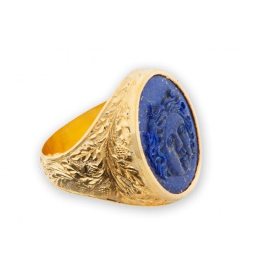 Lapis Ring with Greek Sun God