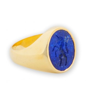 Unicorn ring with Lapis and gold plated sterling silver