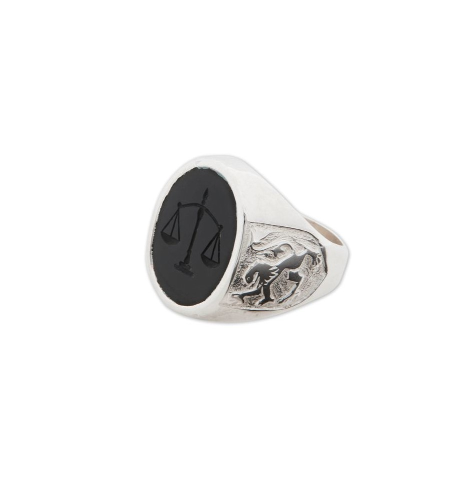Scales Of Justice Ring With Black Onyx And Sterling Silver