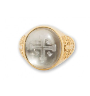 Jerusalem Cross Ring Rock Crystal and Gold Plated Sterling Silver