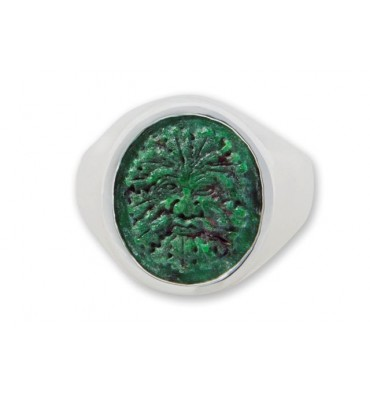 Jade Ring Hand Carved Green Man Sterling Silver