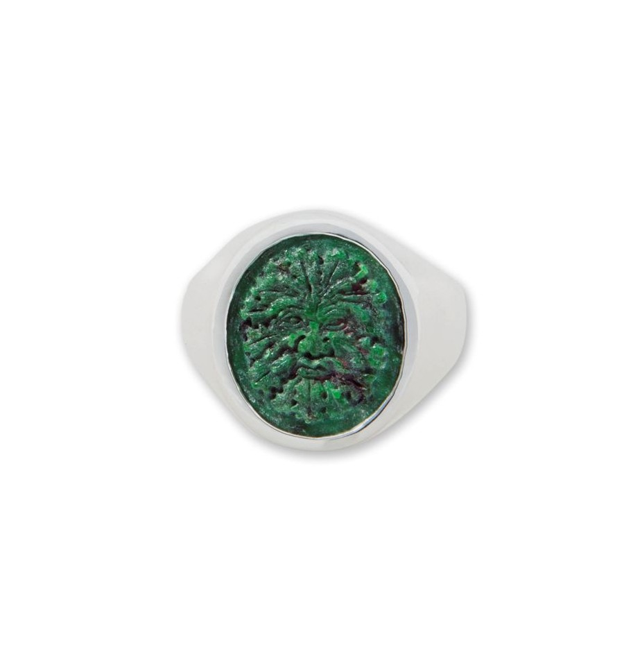 Jade Ring Hand Carved Green Man Sterling Silver Regnas