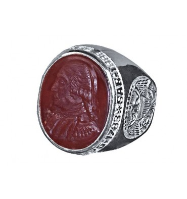 SAR Membership Ring Red Agate & Sterling Silver