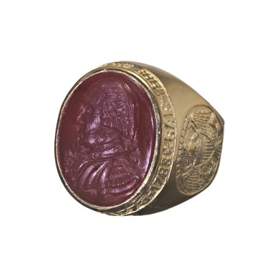 SAR Membership Ring Red Agate & 9 kt Gold