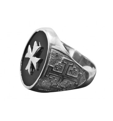 Onyx Ring Heraldic Design And Maltese Cross