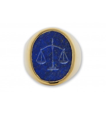 Engraved Ring Lapis Scales of Justice Intaglio Gold Plated