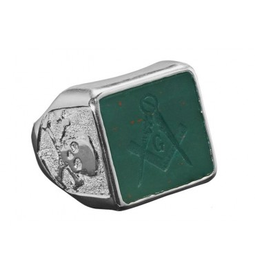 Masonic Ring Skull & Crossbones Square Sterling Silver