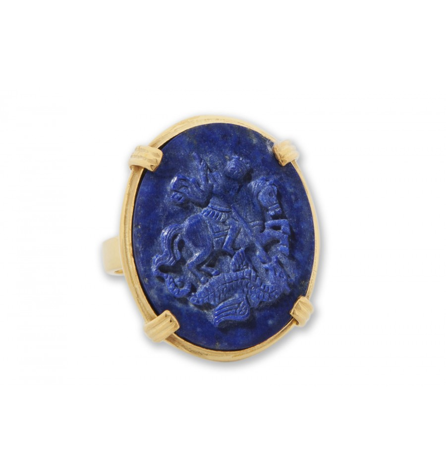 St George Ring Lapis Roman Style Gold Plated Sculpted