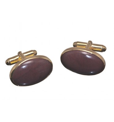 Red Jasper Medium Oval Swivel Cufflinks - Gold Plated Silver