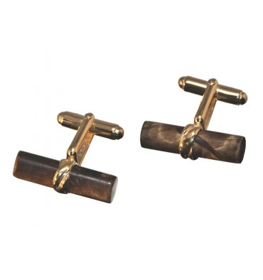Tiger's Eye Grandee Swivel Cufflinks - Gold Plated Silver