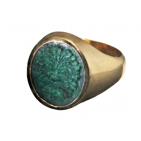 Greenman Ring Jade carved Hand made