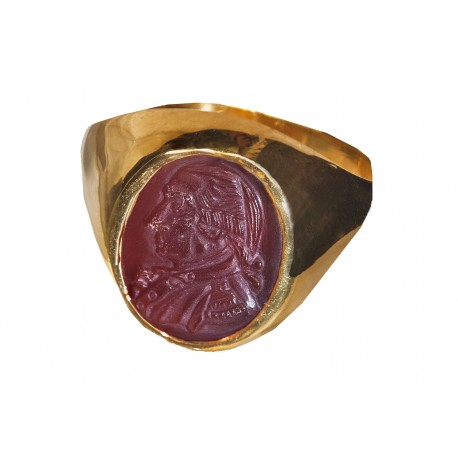 George Washington Ring Hand Carved Red Agate
