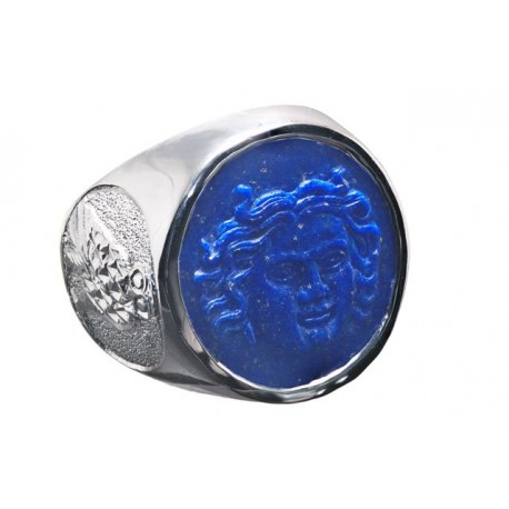 Lapis Greek Sun God & Owl Silver Round Ring
