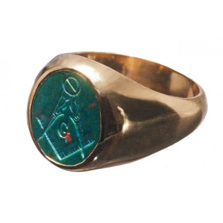 Bloodstone Intaglio Sterling Silver Masonic Ring