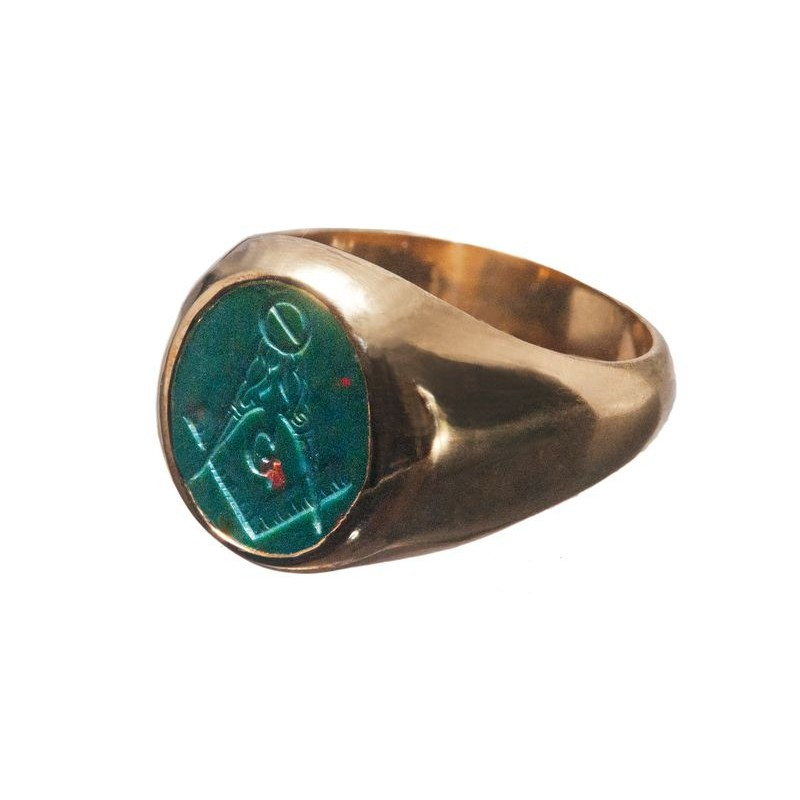 Bloodstone Masonic Ring Engraved Set Square and Compass