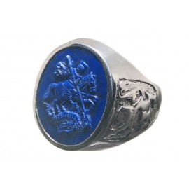 Saint George Ring Handmade Carved Lapis Round Lion of Scotland