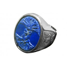 Lapis Lazuli Ring Tree of Life Sterling Silver 925 handmade