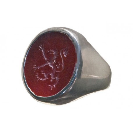 Lion Seal Ring In Red Agate